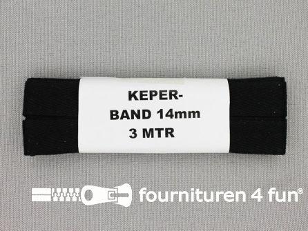 Bosje 3 meter keperband 14mm zwart