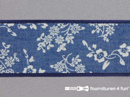 Vintage lint 40mm blauw - wit