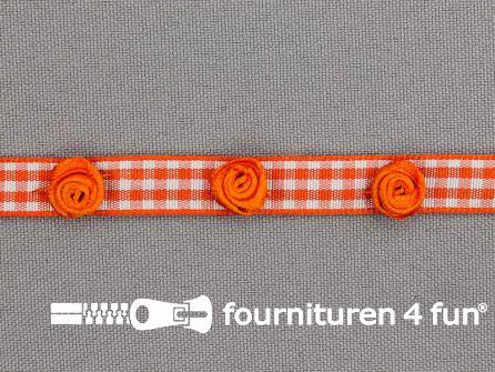 Ruitjes lint 10mm oranje met roosjes