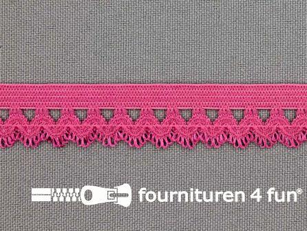 COUPON Elastisch kant 16mm fuchsia roze - 4 stukken, totaal 6,7 meter (1+2+1,85+1,85 meter)