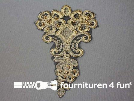 Opzet stuk voor hals / kraag  zwart goud 165x110mm