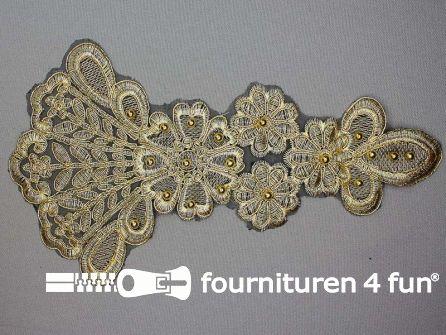 Opzet stuk voor hals / kraag  zwart goud 280x155mm