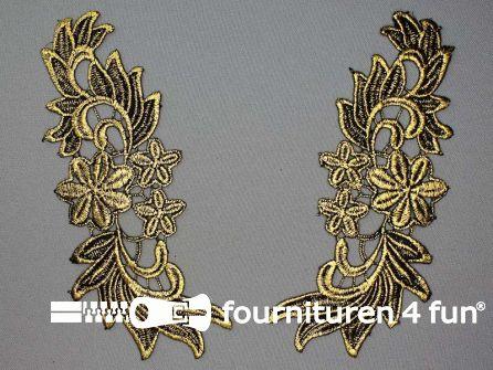 Opzet stuk voor hals / kraag  zwart goud bloem 200x75mm per paar