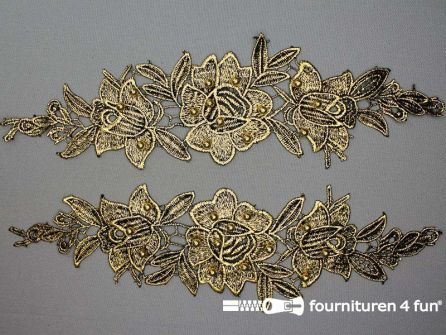 Opzet stuk voor hals / kraag  zwart goud bloem 300x90mm per paar
