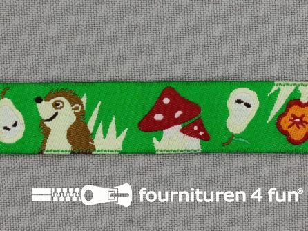 Kinderband 16mm paddenstoel - egel groen