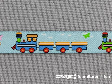 Kinderband 17mm baby blauw - treinwagonnetje