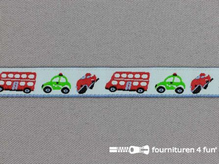 Kinderband 12mm bus - auto -  baby blauw rood groen