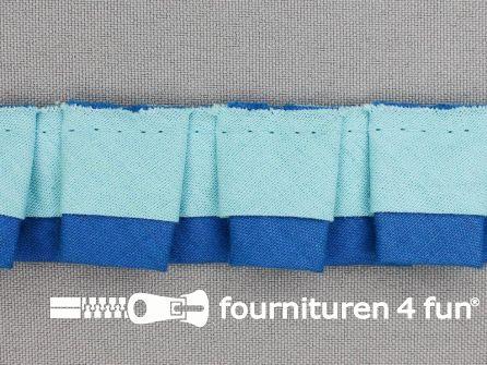 Plissé band 30mm licht blauw - donker blauw