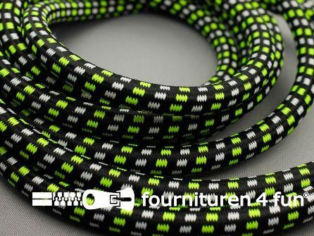 COUPON 3,25 meter Elastisch koord 12mm zwart - wit - neon geel