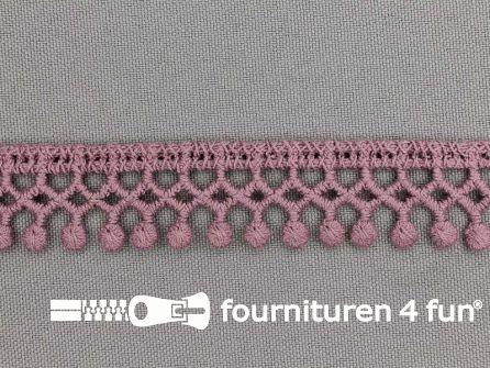 Bolletjes-kloskant 18mm oud roze
