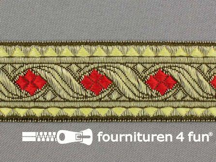 Sinterklaasband 32mm goud - rood
