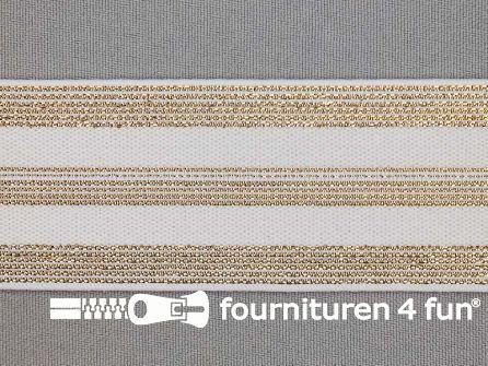 Elastiek met gouden strepen wit 40mm