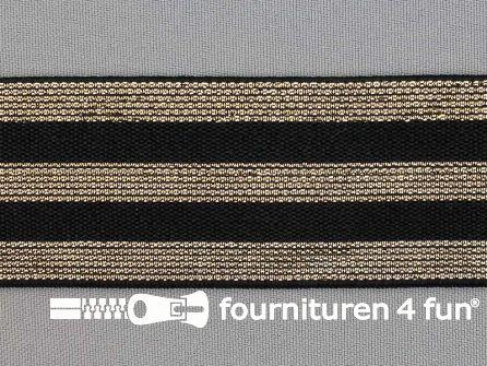 Elastiek met gouden strepen zwart 40mm