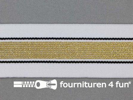 Elastiek met gouden streep wit - zwart 40mm