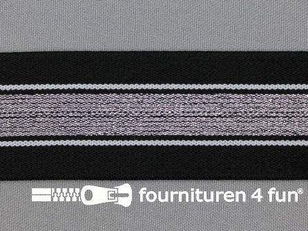 Elastiek met zilveren streep zwart - wit 40mm
