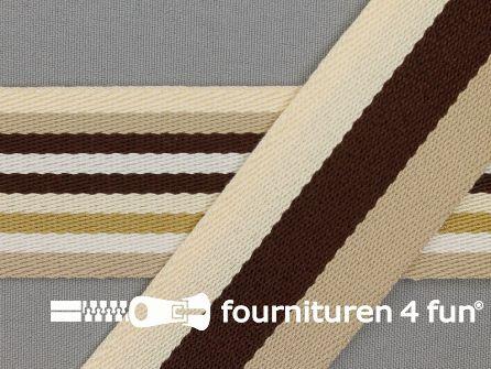 Gestreept dubbelzijdig tassenband 40mm bruin