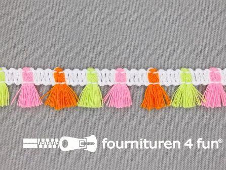 Klosjes franje 15mm roze - lime - oranje