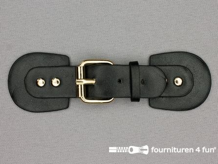 Siersluiting leer 155x37mm zwart - goud