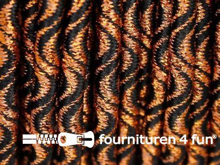 Elastisch koord 3mm zwart - koper golfjes