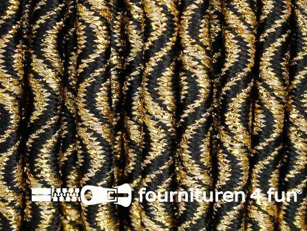 Elastisch koord 3mm zwart - goud golfjes