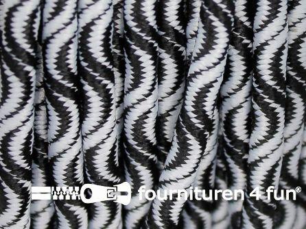 Elastisch koord 3mm zwart - wit golfjes
