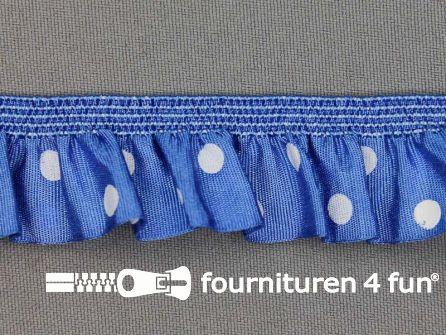 Elastisch ruche band 25mm stippen blauw