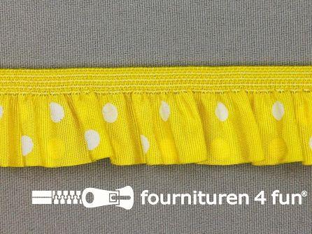 Elastisch ruche band 25mm stippen geel