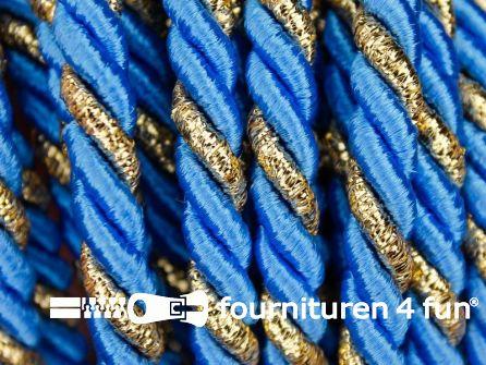 Rol 5 meter multicolor meubelkoord 7mm aqua blauw - goud
