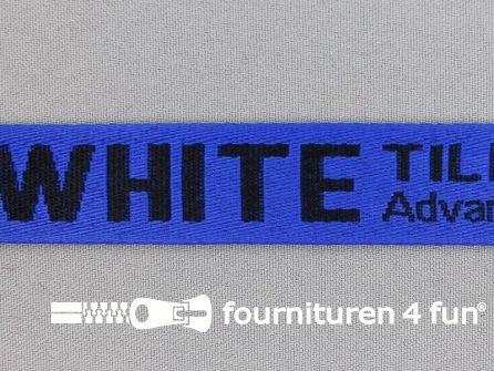Bedrukt keperband 25mm blauw - zwart