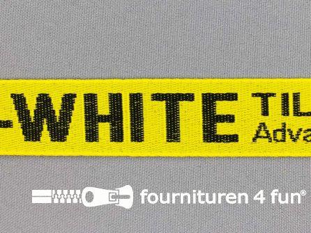 Bedrukt keperband 25mm geel - zwart