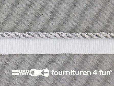 Rol 20 meter gedraaid paspelband 14mm zilver