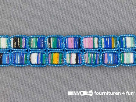 Jacquard band 24mm multicolor blauw