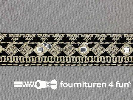 Jacquard band 30mm zwart - goud