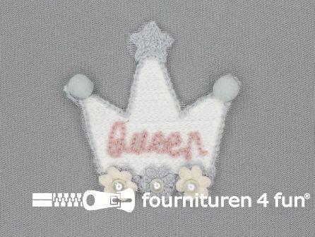 """Quilt applicatie 75x70mm kroontje - """"Queen"""""""
