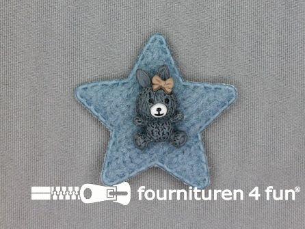 Quilt applicatie 45x45mm ster met beertje - grijs blauw