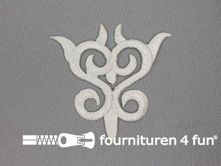 Barok applicatie 90x95mm wit zilver