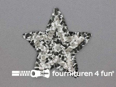 Pailletten applicatie ster 85x80mm zwart - grijs