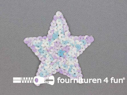 Pailletten applicatie ster 85x80mm lila - blauw