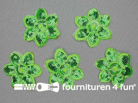 5 stuks pailletten applicatie bloem 52x52mm groen