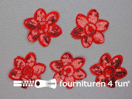 5 stuks pailletten applicatie bloem 52x52mm rood