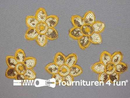 5 stuks pailletten applicatie bloem 52x52mm oker geel - goud