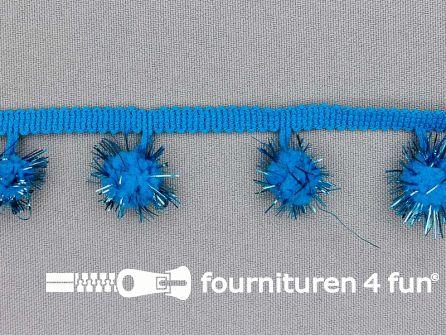 Bolletjesband met lurex 25mm aqua blauw