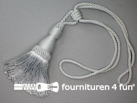 Viscose gordijnkwast 210mm met koord zilver grijs