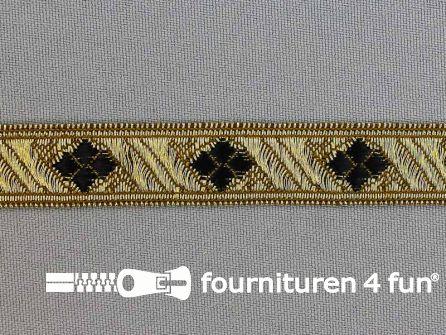Sinterklaasband 15mm goud - zwart