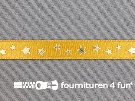 Satijnen deco lint 12mm sterren oker geel - goud
