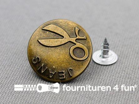 Jeansknopen 20mm Jeans brons