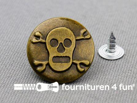 Jeansknopen 20mm doodshoofd brons