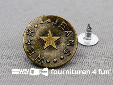 Jeansknopen 20mm 'Jeans Wear' brons