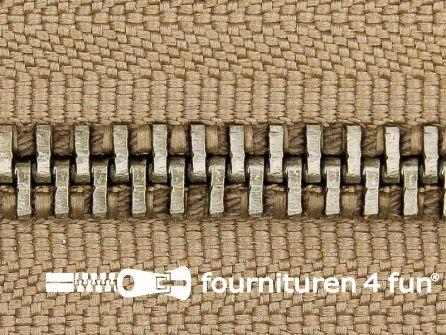 Deelbare zilveren rits 5mm beige