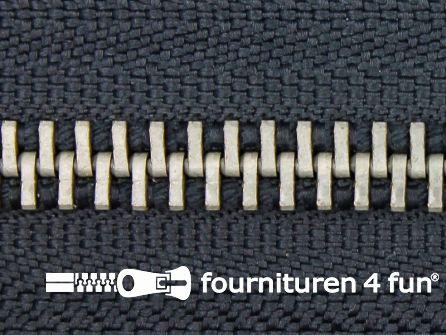 Deelbare zilveren rits 5mm donker grijs